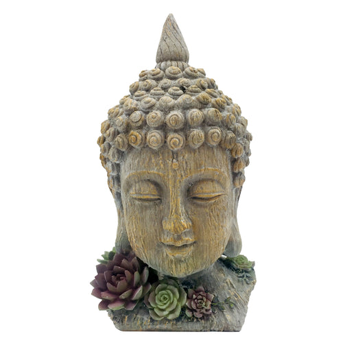 Buddha Head With Succulents Garden Statue