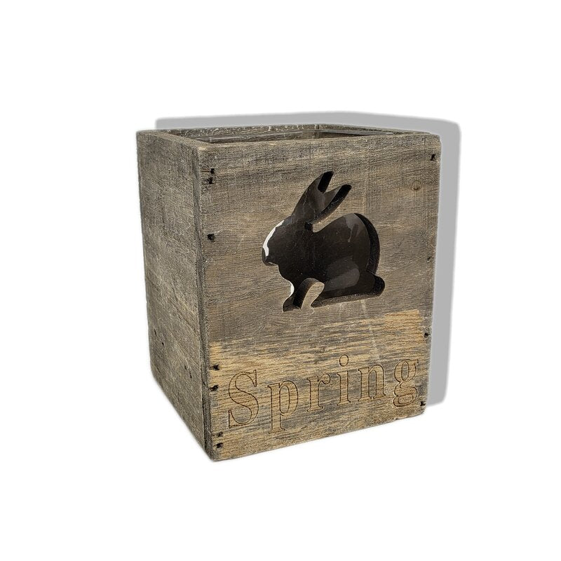 Grey Wooden Pot W/Rabbit T3.74 x 3.74H4.72
