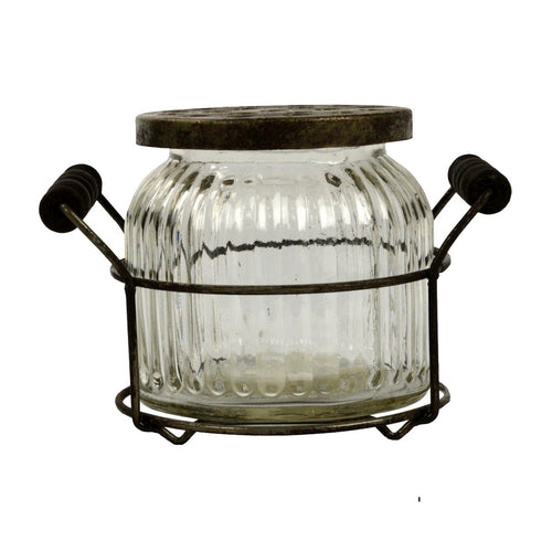 Clear Glass Vase With Metal Stand