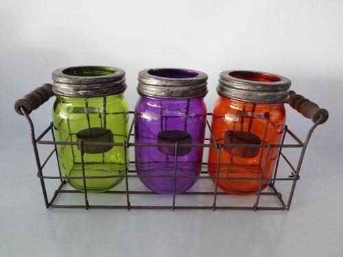 Mix Setof3 Glass Candle Holder With Metal Rack
