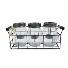 Load image into Gallery viewer, Clear Set of 3 Glass Candle Holder With Metal Rack