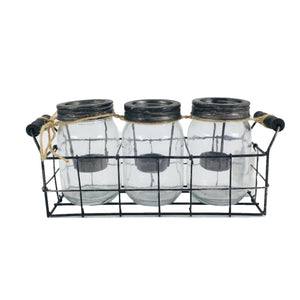 Clear Set of 3 Glass Candle Holder With Metal Rack