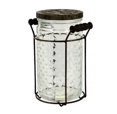 Clear Glass Jar with Metal Stand
