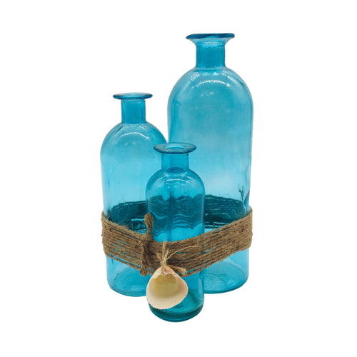 Blue Set Of 3 Glass Bottle With Rope