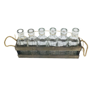 Grey Rectangular Wooden Tray With Handle And Glass
