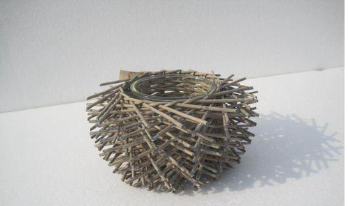 Brown Willow Candle Holder With Glass