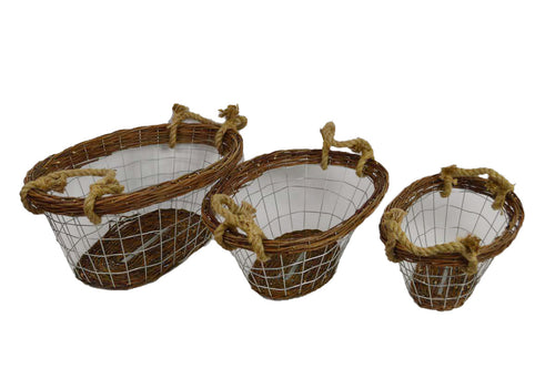 Set Of 3 Unpeeled Willow Basket With Rope Handle