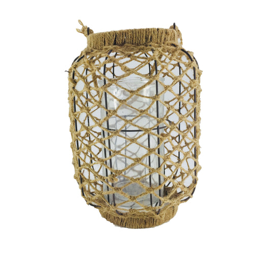 Natural Glass Lantern With Rope