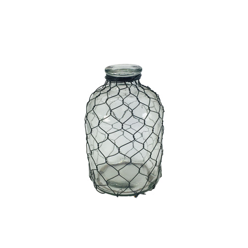 Clear Bottle With Wire Weaving