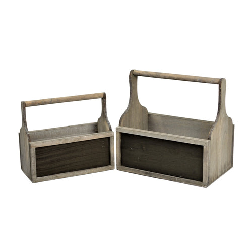 Set of 2 Natural Wooden Box Planters