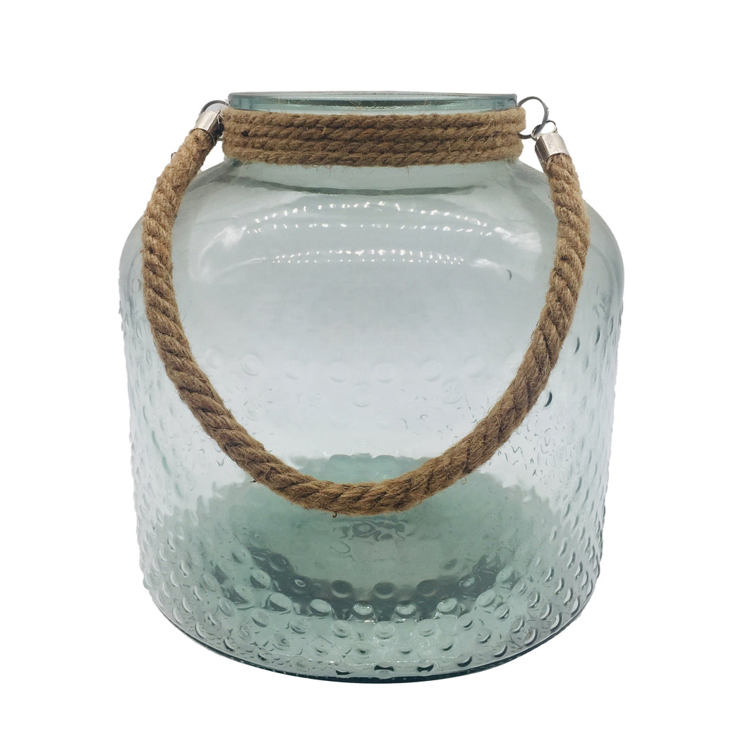 Clear Glass Jar With Rope Handle