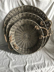Set of 3 Willow Round Tray