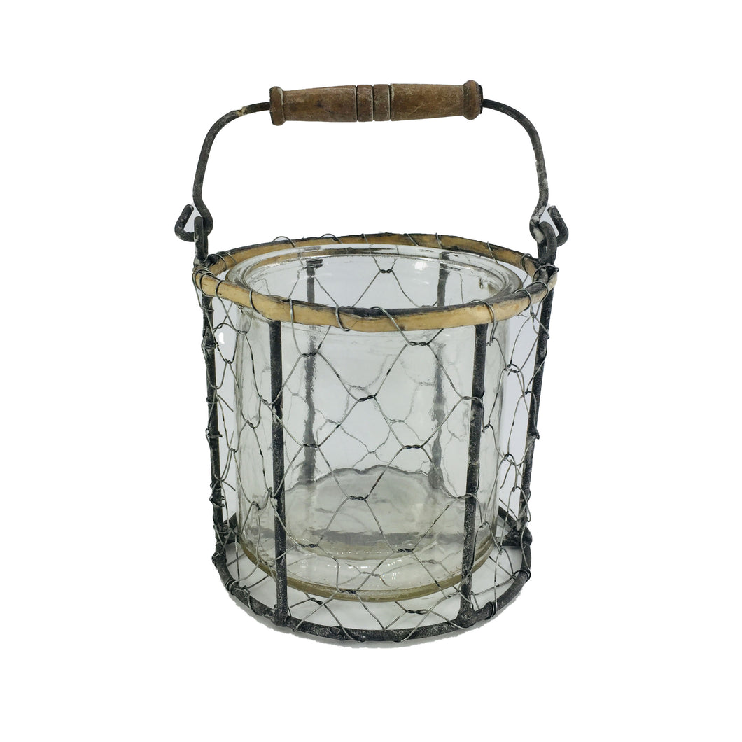 Grey Rd Wire Basket Candle Holder With Glass 4.3