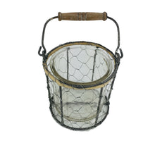 Load image into Gallery viewer, Grey Rd Wire Basket Candle Holder With Glass 4.3""