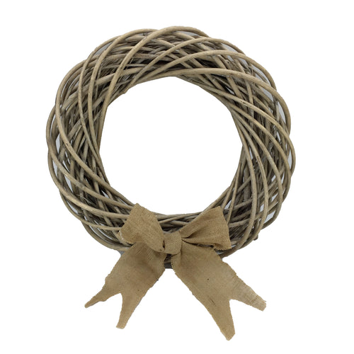 Grey Willow Wreath with Ribbon D22