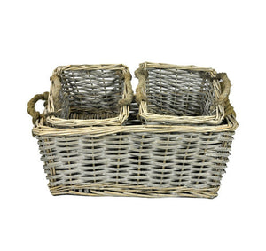 Grey Set Of 3 Willow Basket