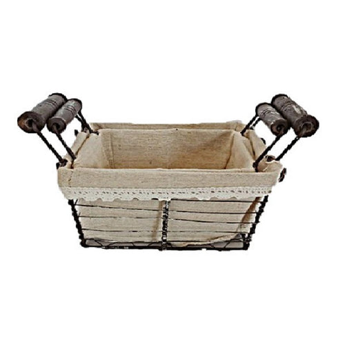 Natural Set Of 2 Metal & Linen Basket