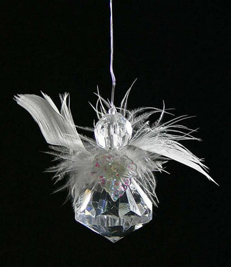 CLEAR ACRYLIC ANGEL DROP SET OF 3 IN PVC BOX