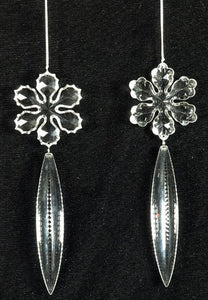 Acrylic Flower W/Dangle Orn  Set Of 2