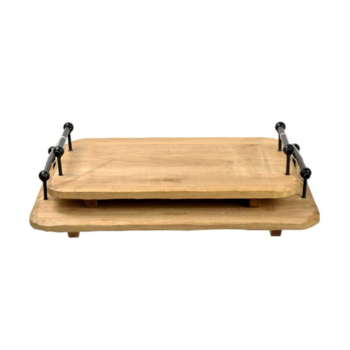 Natural Set Of 2 Wood Tray - Galt International