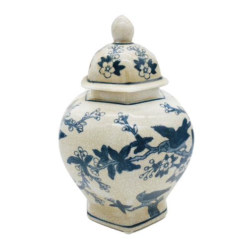 Blue & White Chinoiserie Porcelain Jar