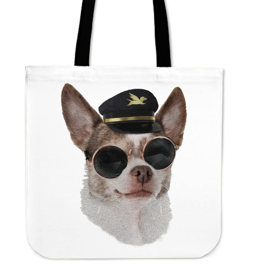 Tote Bag | Aviator Chihuahua - 5 Colors