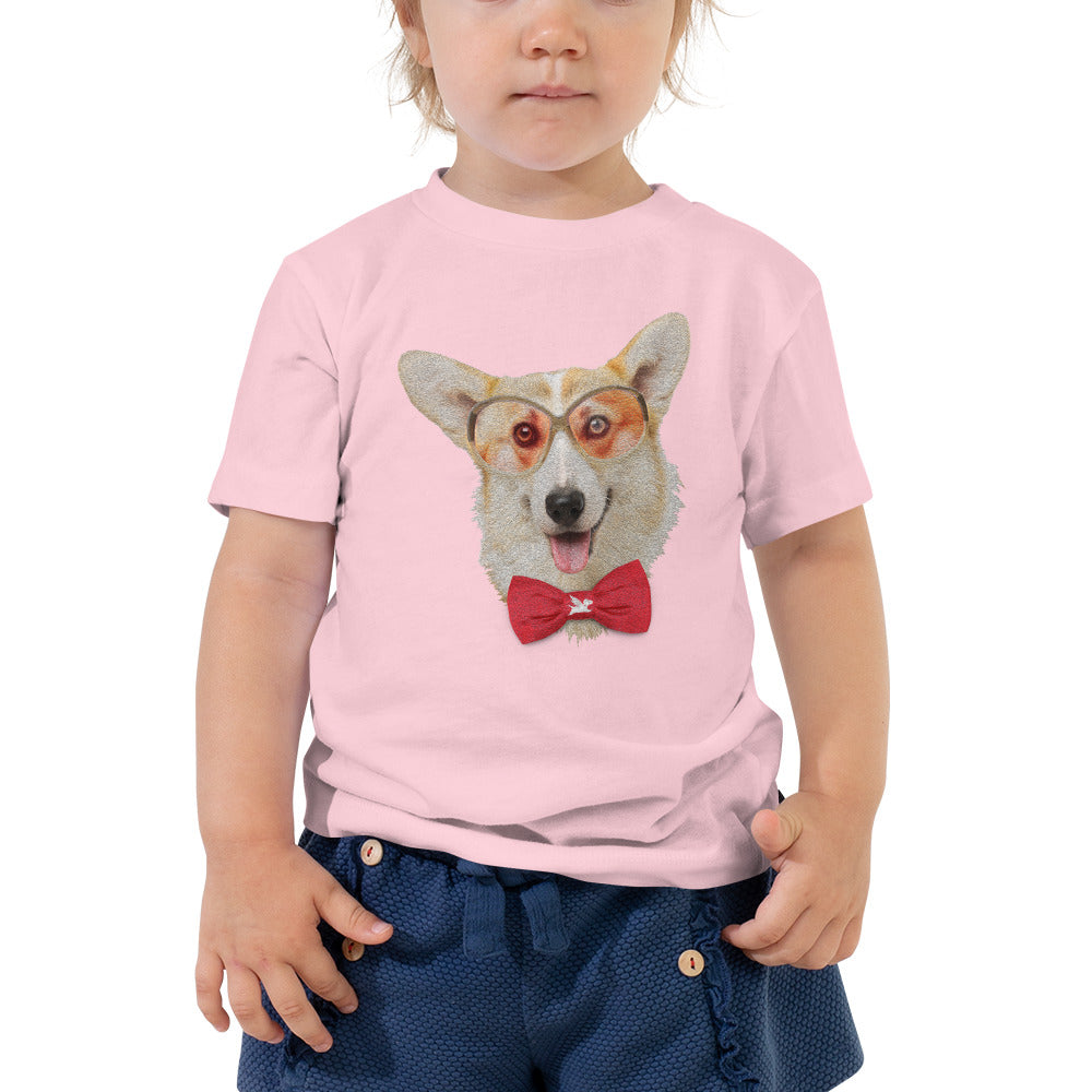 Toddler Tee | Corgi with Glasses & Bow Tie