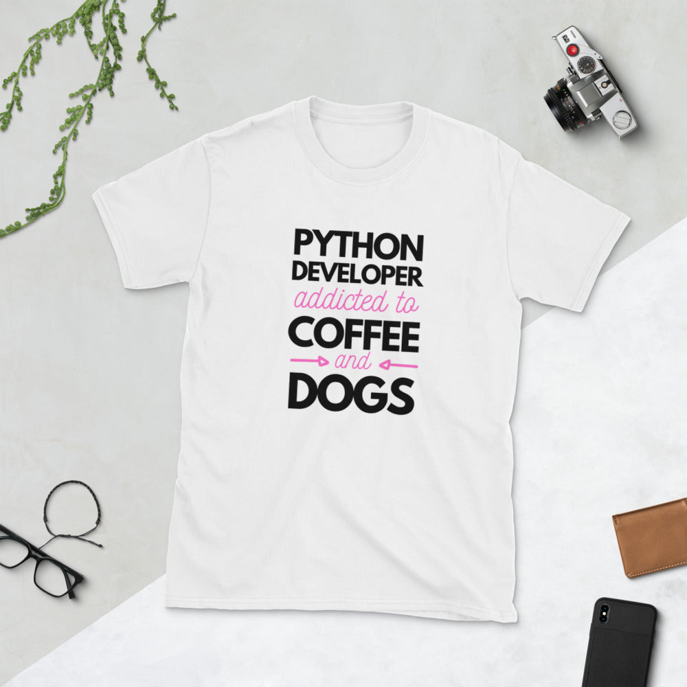Women | Python Developer Addicted to Coffee & Dogs T-Shirt