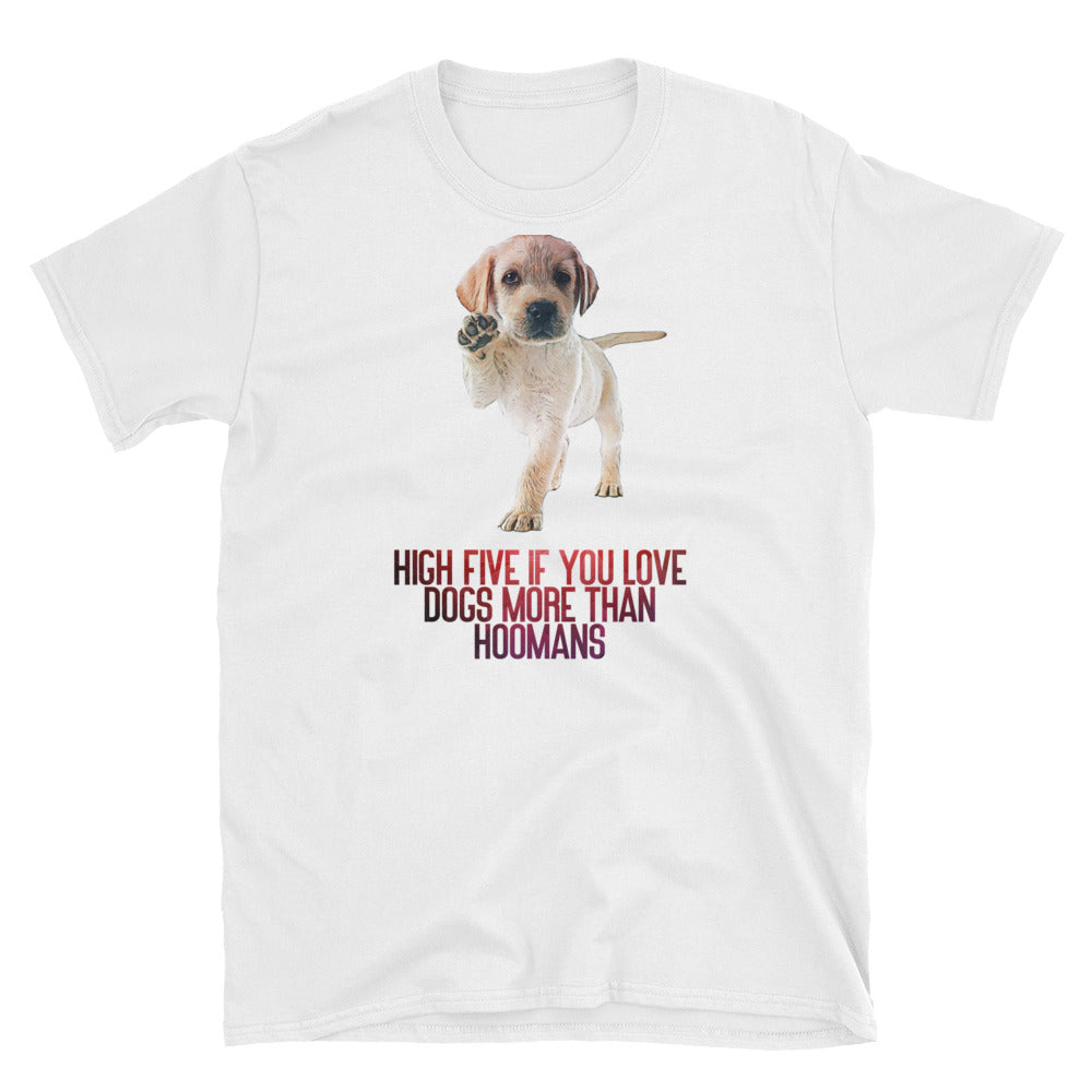 Women's White Cute Tee | Labrador Puppy High Five Tee