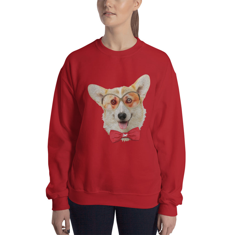 Sweatshirt | Corgi with Glasses & Bow Tie