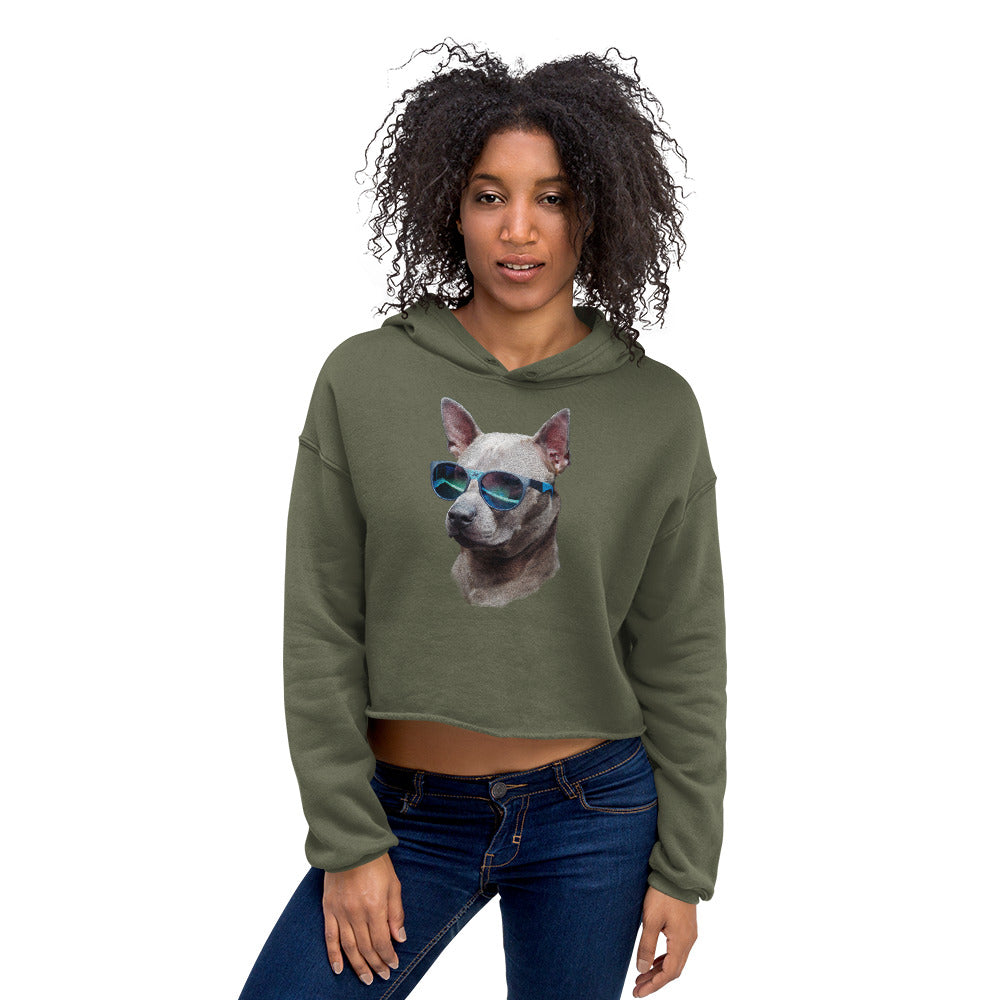 Crop Hoodie | Cool Dog Blue Sunglasses