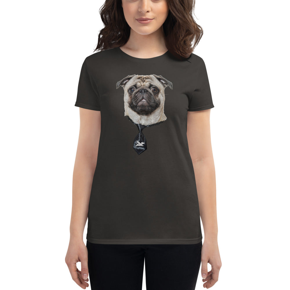 Women's Fit | Smart Pug with Black Tie