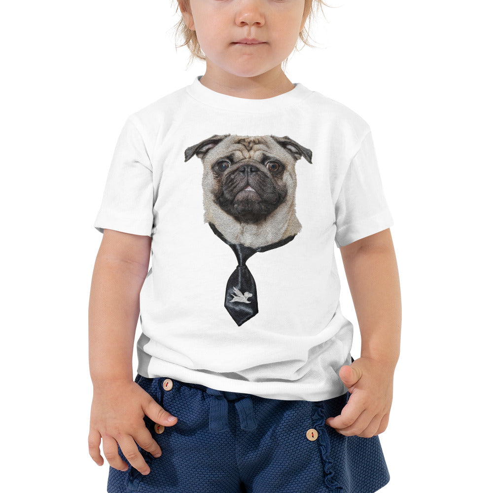 Toddler Tee | Smart Pug with Black Tie