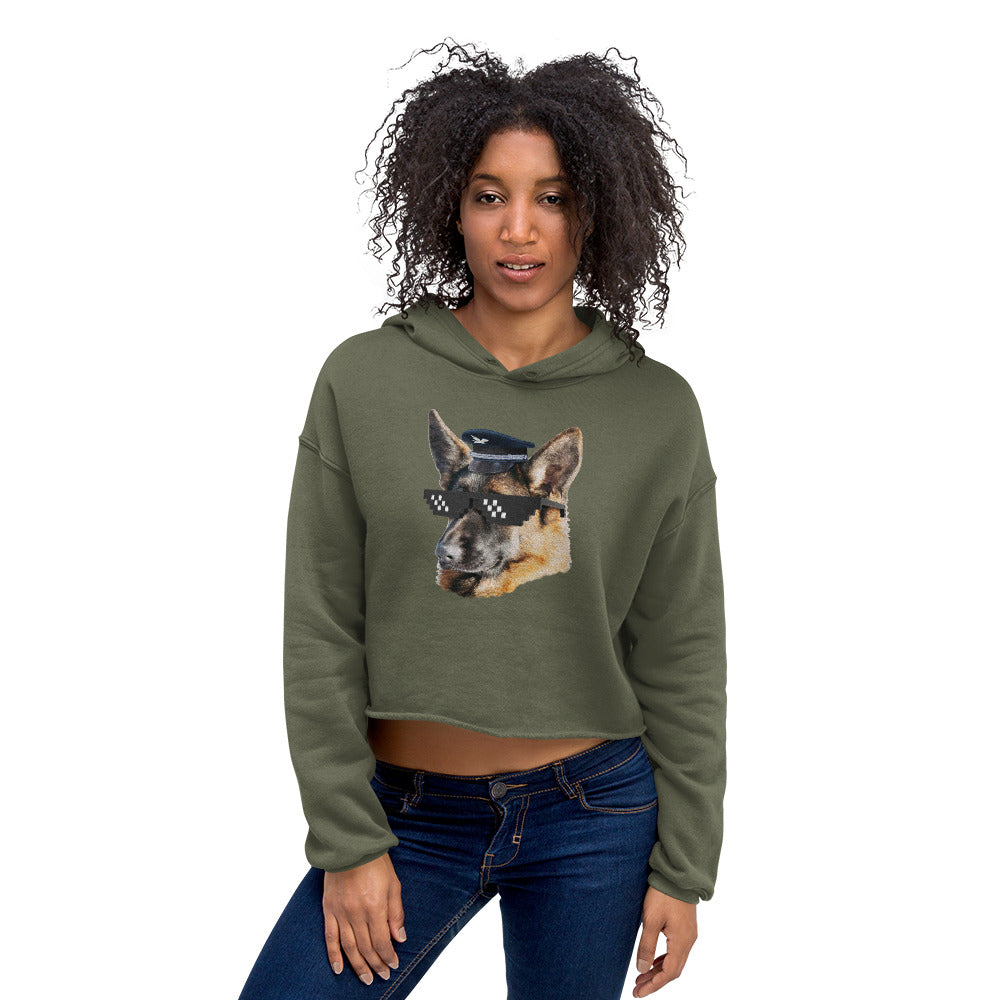 Crop Hoodie | Captain German Shepherd