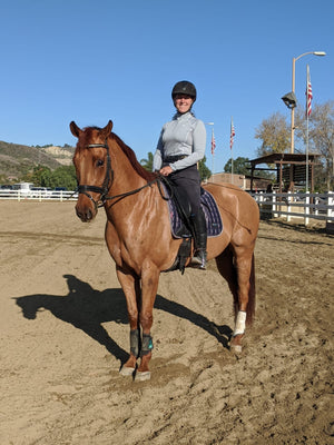 dressage rider Alyssa Ohlig with her senior horse