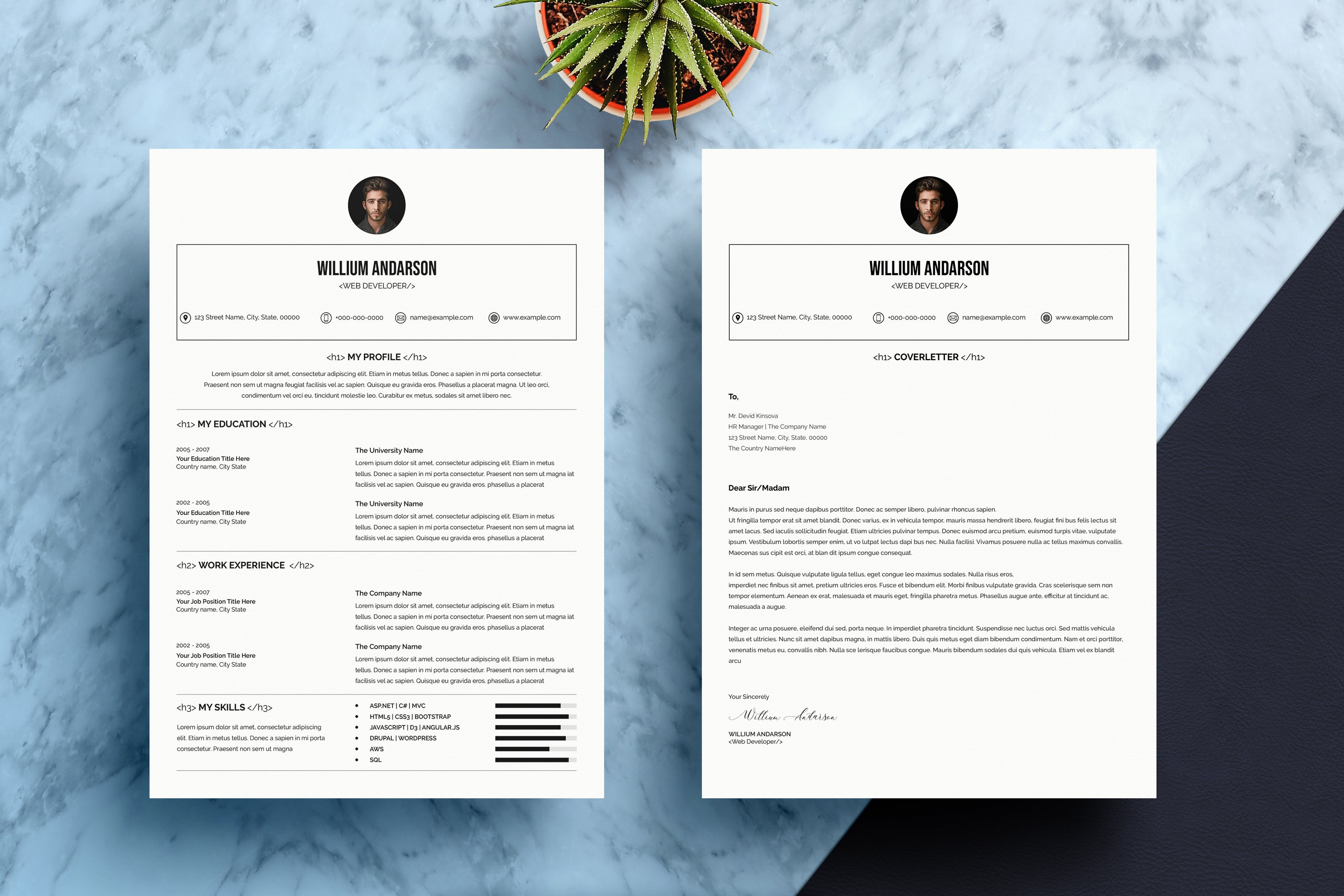 Professional Resume & Cover Letter Bundle-Templates-Artixty