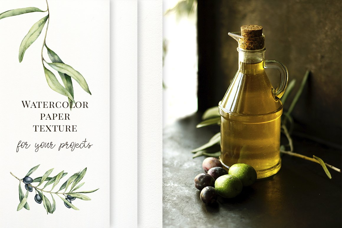 Olives Watercolor Elements Collection-Graphics-Artixty