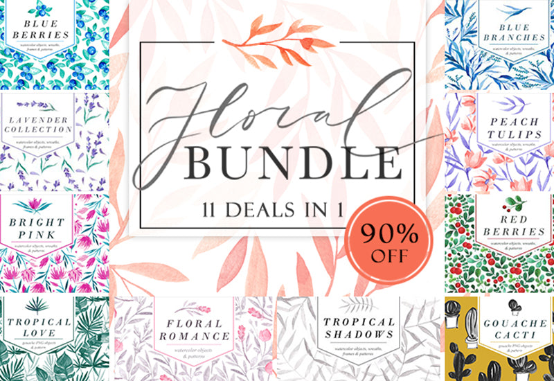 The Glamorous Floral Bundle - 11 Collections In 1-Graphics-Artixty