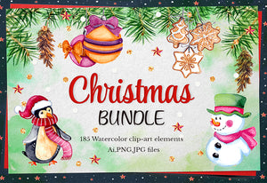 The Joyous Winter & Christmas Watercolor Bundle-Graphics-Artixty