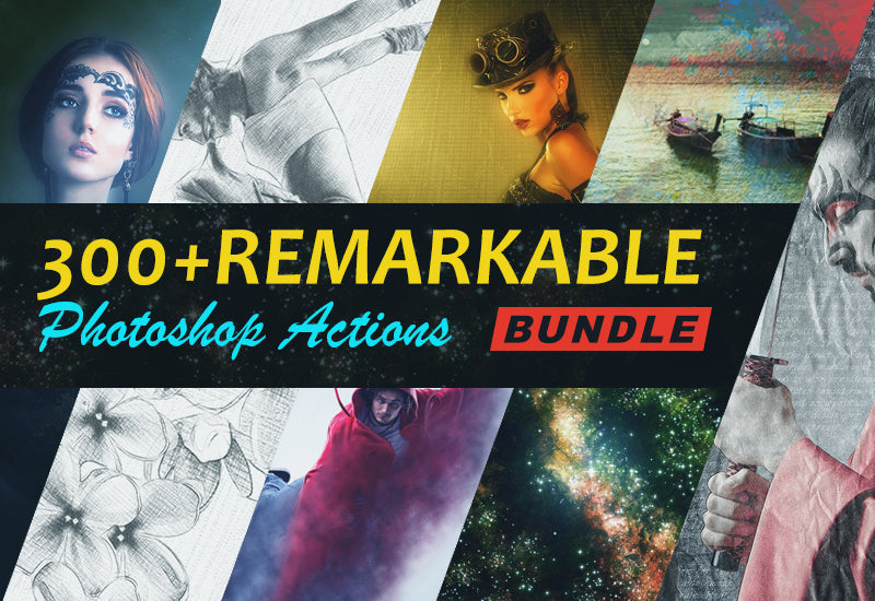 300+ Remarkable Photoshop Actions Bundle-Add-Ons-Artixty