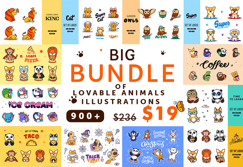 The Big Bundle Of 900+ Lovable Animals Illustrations-Graphics-Artixty
