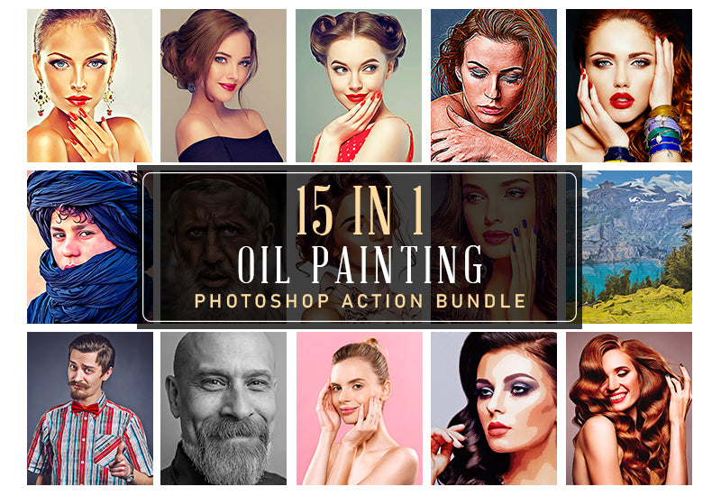 15-In-1 Oil Painting Photoshop Actions Bundle-Add-Ons-Artixty