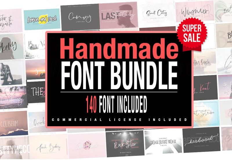 140-In-1 Hand Made Deluxe Font Bundle-Fonts-Artixty