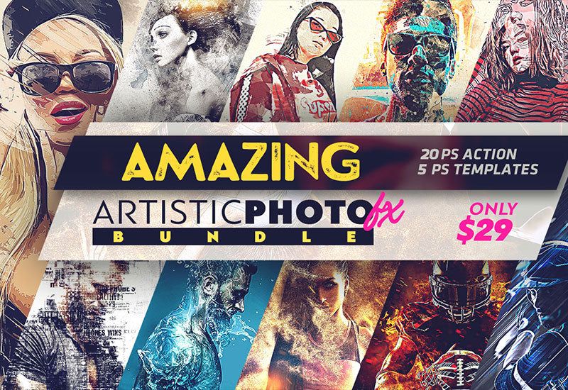 Amazing Artistic Photoshop Actions Bundle-Add-Ons-Artixty