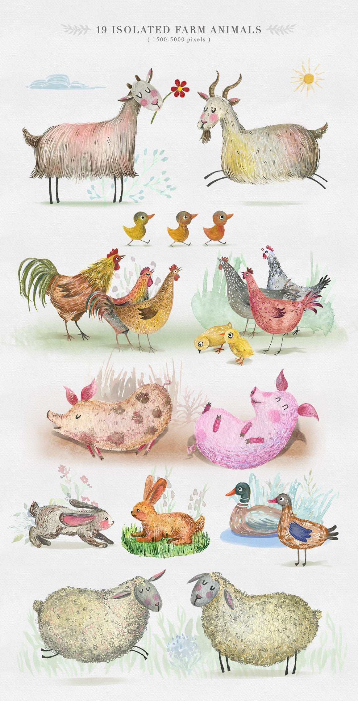 Cute Animals Watercolor Collection-Graphics-Artixty