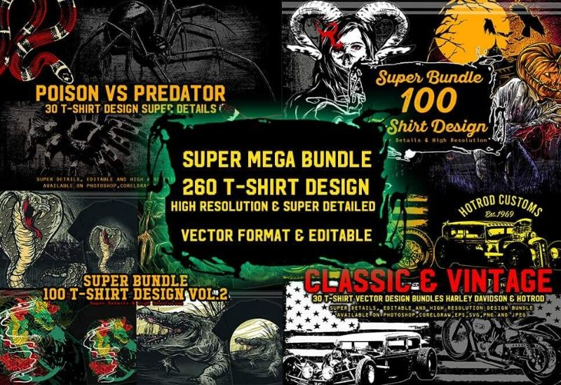 Mega T-Shirt Designs Bundle - 260 Design Templates-Templates-Artixty