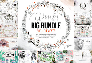 Big Bundle of 600+ Watercolor Monochrome Designs-Graphics-Artixty