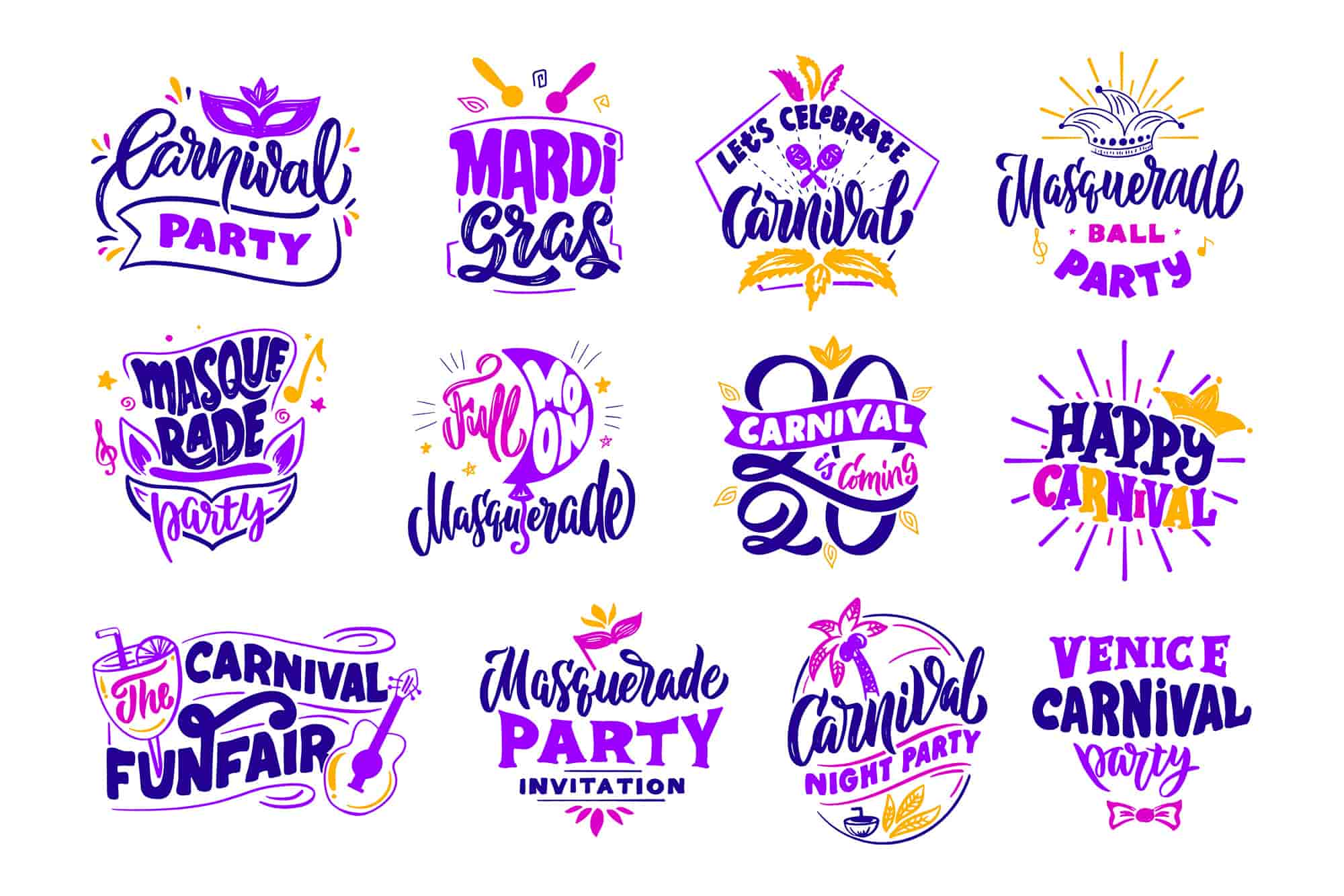 The Happy Holiday Lettering Logos Bundle-Graphics-Artixty