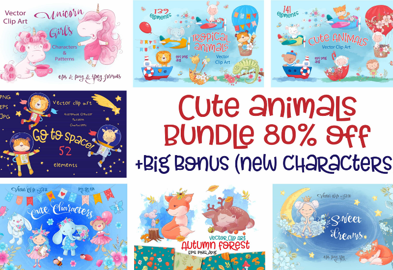 The Cute Animals Illustrations Bundle-Graphics-Artixty
