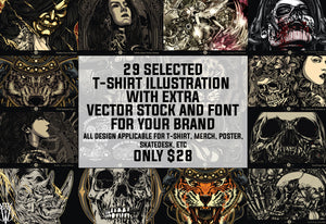 29 Selected Grunge T-Shirt Illustrations Bundle-Templates-Artixty